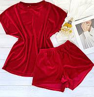 Женский плюшевый комплект футболка и шорты L-XL красный, фото 1