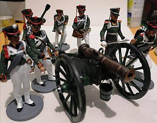 Британская 9ти фунтовая пушка и 7 фигурок | Боевой расчет периода наполеоновских войн | Масштаб 1:32
