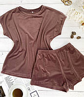 Женский плюшевый комплект футболка и шорты L-XL пыльная роза, фото 1