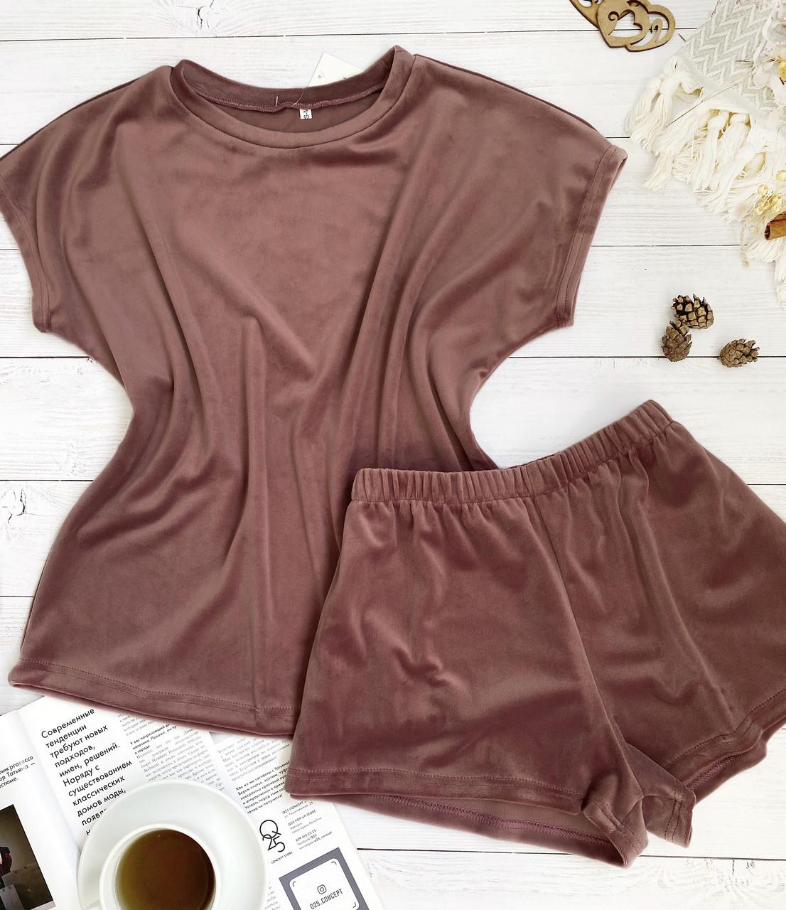Женский плюшевый комплект футболка и шорты L-XL пыльная роза