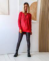 Женский вязаный удлиненный свитер со шнуровкой спереди, фото 1