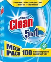 Таблетки для миття посуду в посудомийній машині At Home Clean 5in1 100шт 2кг