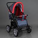 Детская коляска-трансформер Viki 86 Karina темно-серая с красным дождевик люлька-переноска для новорожденных, фото 2