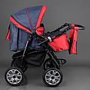 Детская коляска-трансформер Viki 86 Karina темно-серая с красным дождевик люлька-переноска для новорожденных, фото 4