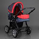 Детская коляска-трансформер Viki 86 Karina темно-серая с красным дождевик люлька-переноска для новорожденных, фото 5
