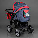 Детская коляска-трансформер Viki 86 Karina темно-серая с красным дождевик люлька-переноска для новорожденных, фото 6