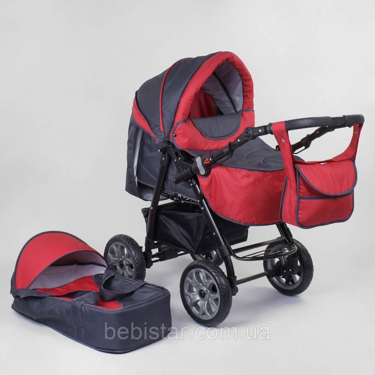 Детская коляска-трансформер Viki 86 Karina темно-серая с красным дождевик люлька-переноска для новорожденных