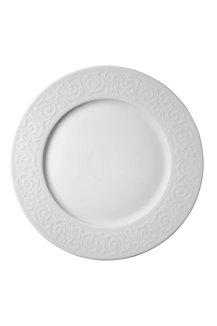 Тарелка белая фарфоровая круглая с рельефным бортом Kutahya ACELYA 250мм.
