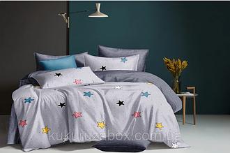 """Семейный комплект постельного белья """"Разноцветные звездочки"""" из сатина"""