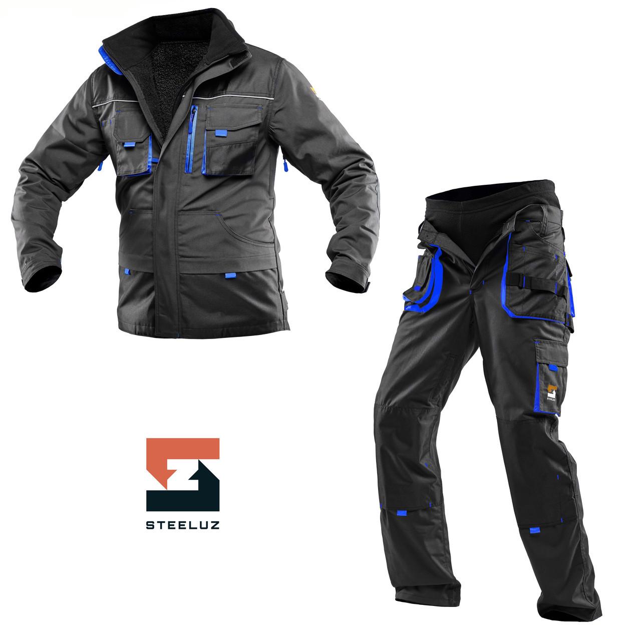 Костюм рабочий защитный утепленный SteelUZ 4S синяя отделка Куртка+Брюки, Темно-серый, 44