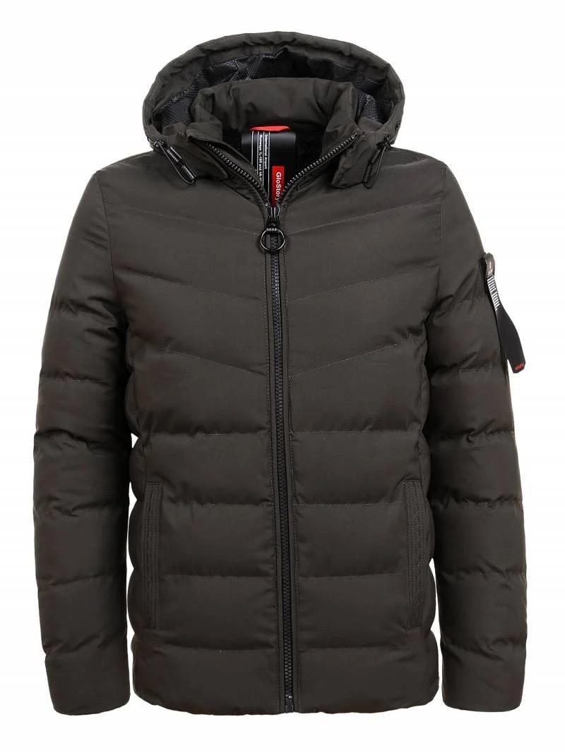 Чоловіча зимова куртка з капюшоном в кольорі хакі у великому розмірі на хутрі