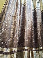 Штора Blackout  Verona коричневый с золотом, фото 1