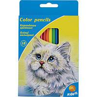 Олівці кольорові KITE Тварини 18 кольорів