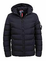 Мужская зимняя куртка с капюшоном в черном цвете в большом размере