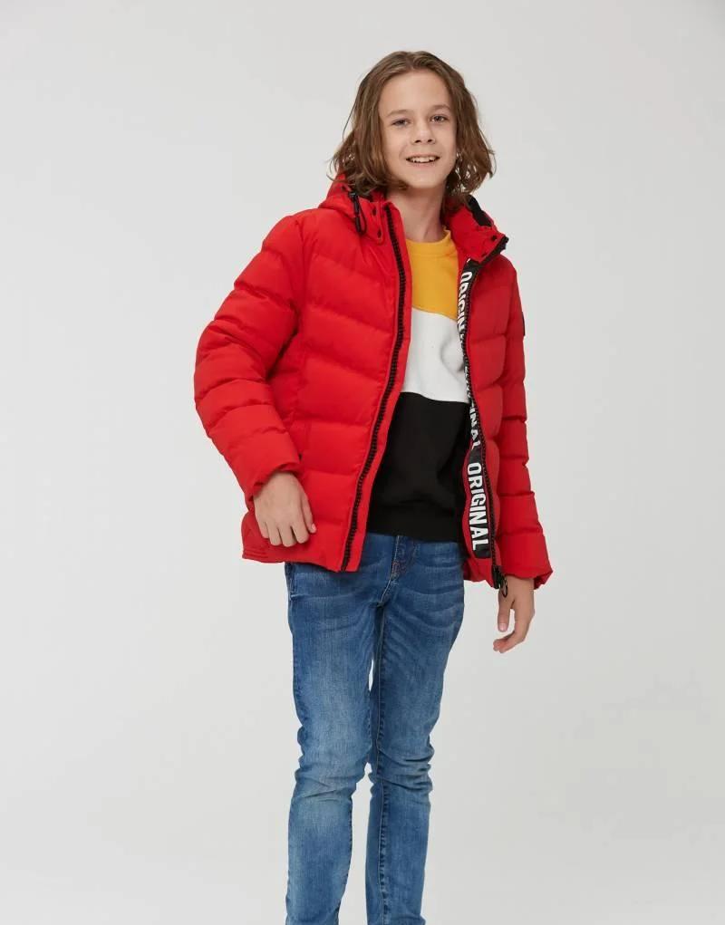 Зимова тепла коротка курточка на хлопчика на хутрі з капюшоном