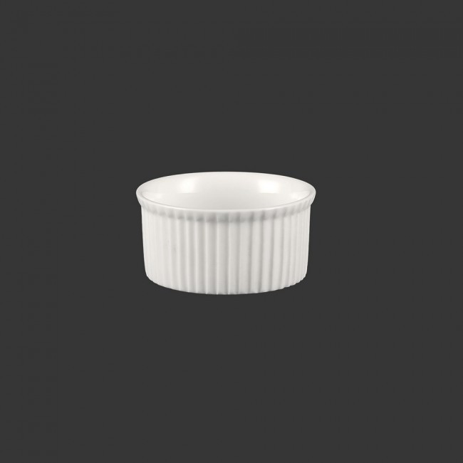 "Соусник круглый ребристый фарфоровый Helios ""Extra white"" 80 мл (W0252)"