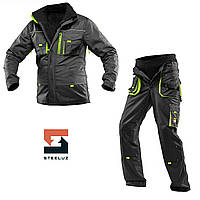 Костюм рабочий защитный утепленный SteelUZ 4S салатовые вставки Куртка+Брюки, Темно-серый, 44, фото 1