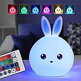 Ночник детский Милый Кролик силиконовый 7 режимов свечения, фото 3