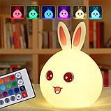 Ночник детский Милый Кролик силиконовый 7 режимов свечения, фото 4