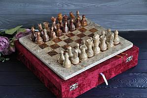 Шахматы из натурального камня яшмы 30*30 см