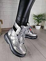 Ботинки серебристые женские, фото 1