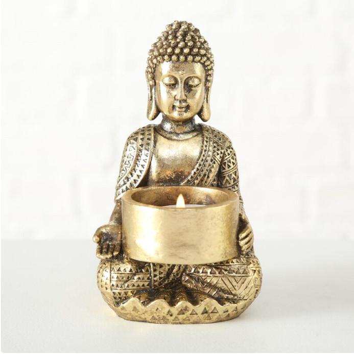 Подсвечник Будда золотой из полистоуна h14см