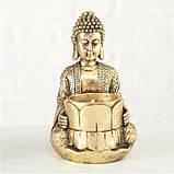 Подсвечник Будда золотой из полистоуна h14см, фото 2