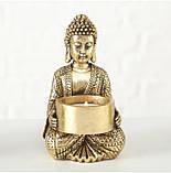 Подсвечник Будда золотой из полистоуна h14см, фото 8