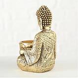 Подсвечник Будда золотой из полистоуна h14см, фото 4