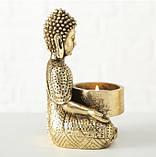 Подсвечник Будда золотой из полистоуна h14см, фото 3