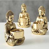 Подсвечник Будда золотой из полистоуна h14см, фото 6