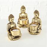 Подсвечник Будда золотой из полистоуна h14см, фото 7