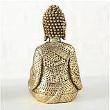Подсвечник Будда золотой из полистоуна h14см, фото 5