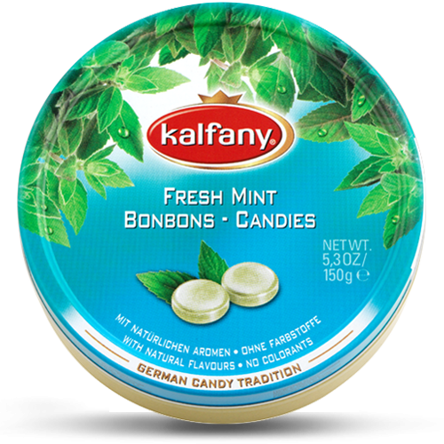 Льодяники Kalfany Fresh mint м'ятні 150г, 10 шт/ящ