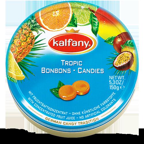 Льодяники Kalfany Tropic candies тропічні 150г, 10 шт/ящ