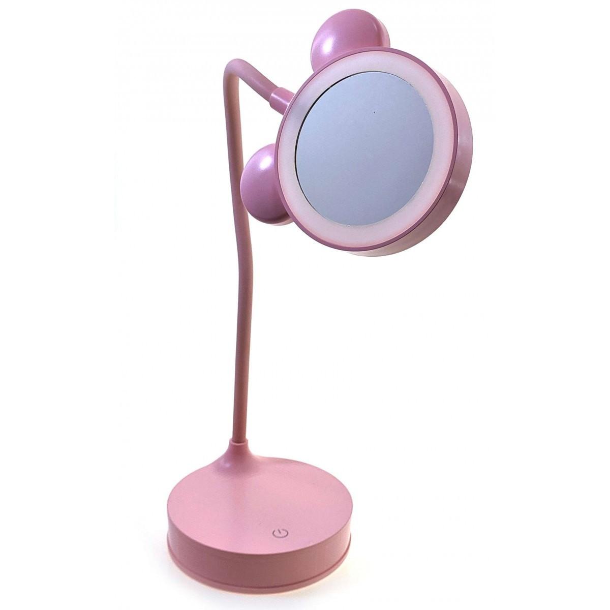 Зеркало настольное с LED подсветкой розовое