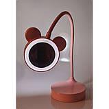 Зеркало настольное с LED подсветкой розовое, фото 3
