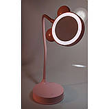 Зеркало настольное с LED подсветкой розовое, фото 4