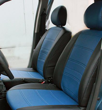 Чехлы на сиденья Рено Трафик (Renault Trafic) 1+1 (универсальные, кожзам, с отдельным подголовником)