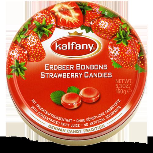 Льодяники Kalfany Erdbeer Candies полуниця 150г, 10 шт/ящ