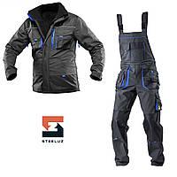 Костюм рабочий утепленный защитный SteelUZ 4S синие вставки Куртка+Полукомбинезон, Темно-серый, S