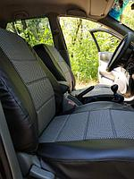 Чехлы на сиденья Рено Меган 2 (Renault Megane 2) (универсальные, кожзам+автоткань, с отдельным подголовником)