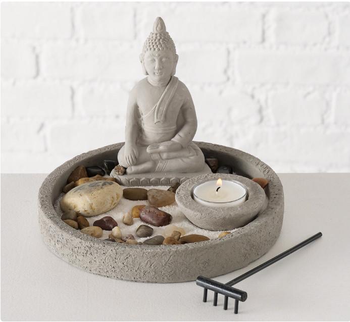 Декоративный набор «Дзен» подсвечник с фигурой Будды D19 см