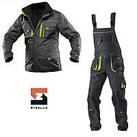 Костюм рабочий утепленный защитный SteelUZ 4S салатовыми вставками Куртка+Полукомбинезон, Темно-серый, S