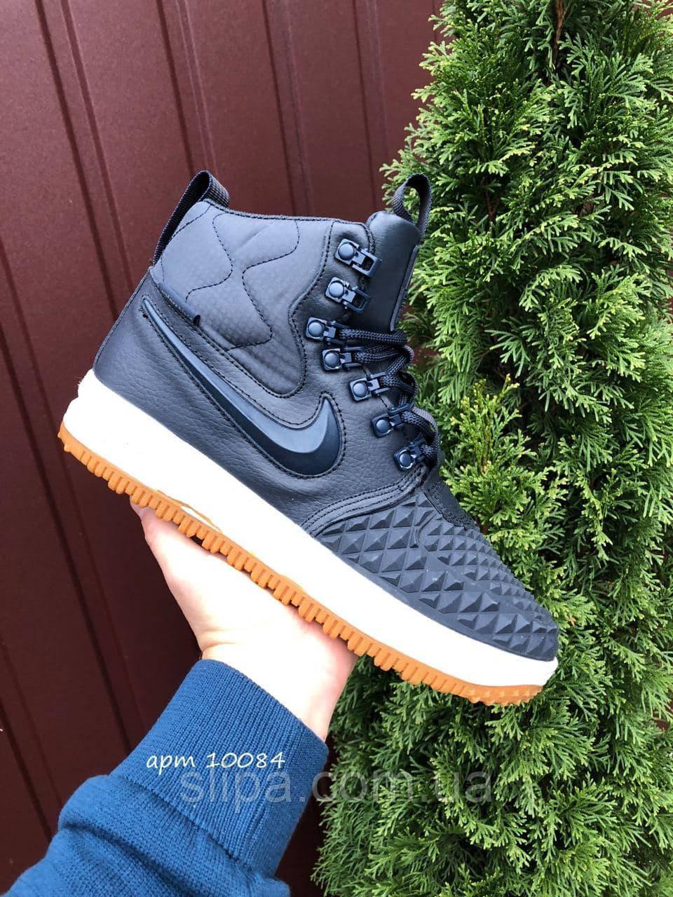 Мужские зимние кроссовки Nike Lunar Force 1 Duckboot тёмно синие на белой подошве