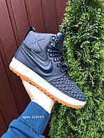 Мужские зимние кроссовки Nike Lunar Force 1 Duckboot тёмно синие на белой подошве, фото 1
