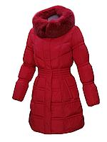 Пуховик пальто женский зимний на натуральном пуху с натуральным мехом лисы с капюшоном MIRAGE