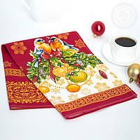 """Новогоднее полотенце льняное """"Снегири"""" (от 10 штук), фото 1"""