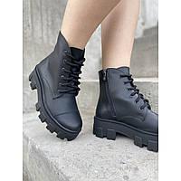Массивные демисезонные женские ботинки на шнуровке