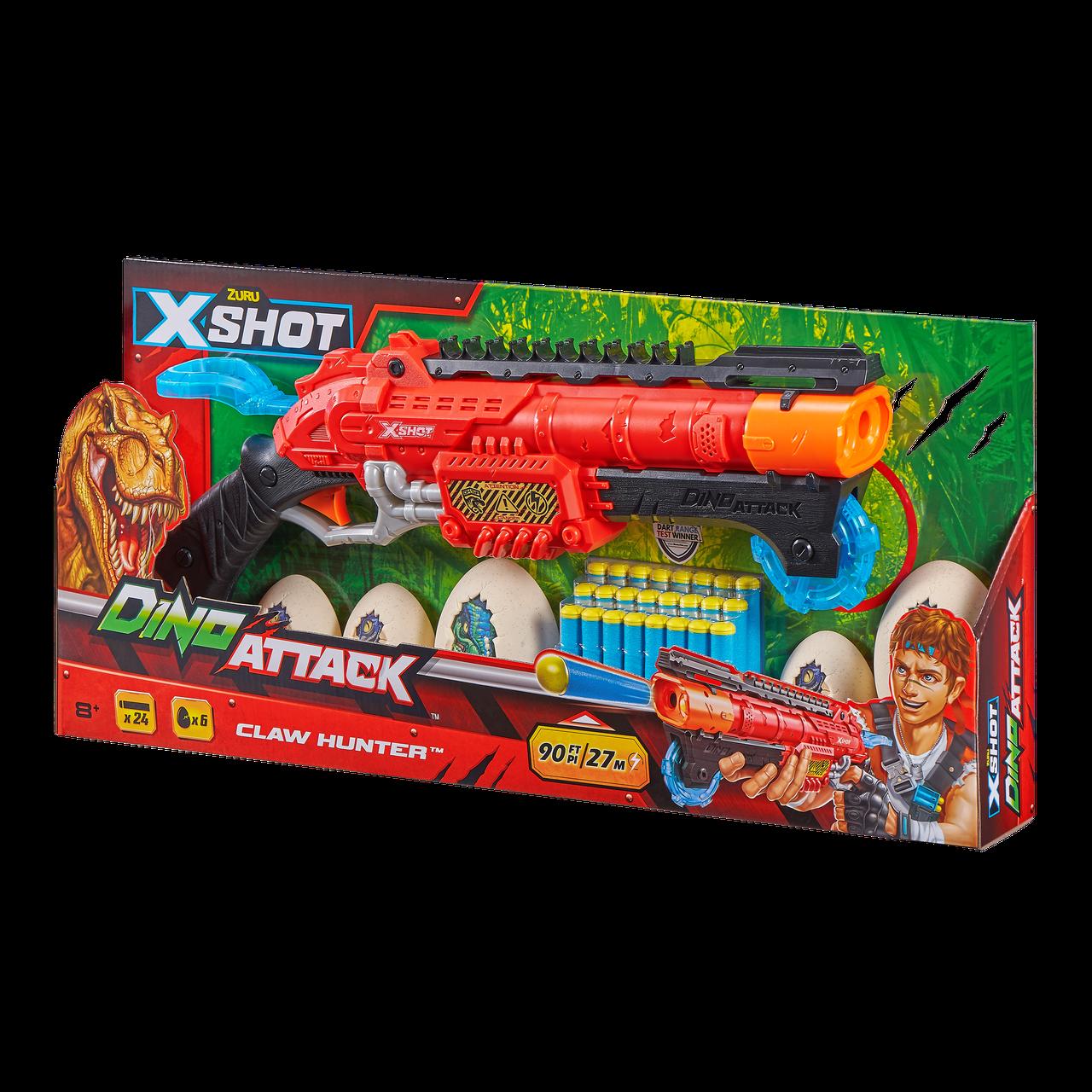 Скорострельный бластер Dino X-Shot claw hunter (2 средних яйца, 4 маленьких яйца, 24 патрона) (4861)